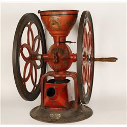 Antique Cast Iron Double Wheel Coffee Grinder