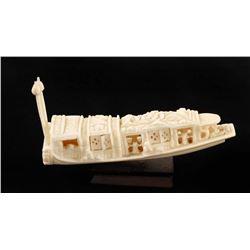 Carved Elephant Ivory Boat