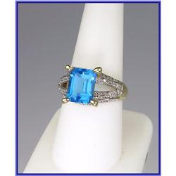 Beautiful Swiss Blue Topaz & Diamond Ring