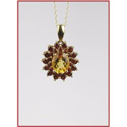 Colorful Citrine & Red Garnet Pendant