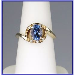 Vibrant Tanzanite & Diamond Ring