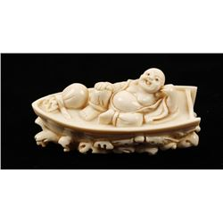 Ivory Buddha in a Boat