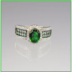 Beautiful Levian Style Green Garnet & Diamond Ring