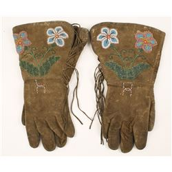 Old West American Indian Beaded Leather Gauntlets
