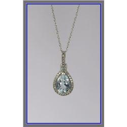 Classy Pear Shaped Aquamarine & Diamond Pendant