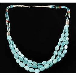 3 Strand Sleeping Beauty Turquoise Necklace