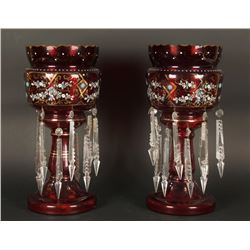 Pair of Red Candleholders