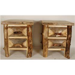 2 Custom Made Aspen Wood Log Side Tables