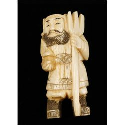 Ivory Figurine of Bearded Man with Pitchfork