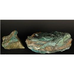 Lot of 2 Natural Malachite Rocks