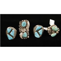 4 Sterling & Turquoise Rings
