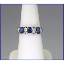 Lovely Ceylon Colored Blue Sapphire & Diamond Ring