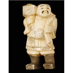 Ivory Figurine of Japanese Man with Hammer