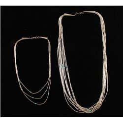 (2) Shimmering Water Silver Necklaces