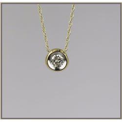 Striking Contemporary Bezel Set Diamond Pendant