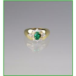 Lush Green Emerald & Diamond Ring