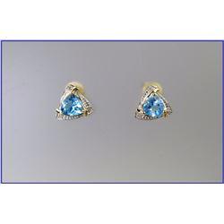 Stylish Swiss Blue Topaz & Diamond Earrings