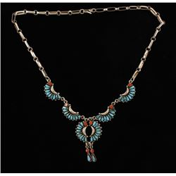 Zuni Turquoise and Coral Necklace
