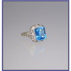 Intricate Art Deco Style Blue Topaz Ring