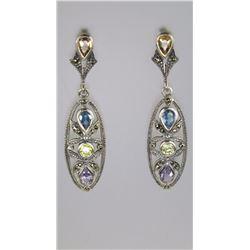 Colorful Multi-Gem Sterling Silver Dangle Earrings