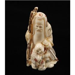 Ivory Netsuke of Japanese God Jurojin