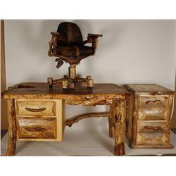 Rustic Aspen Wood Desk, Office Chair
