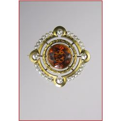 Lovely Antique Citrine & Seed Pearl Pin