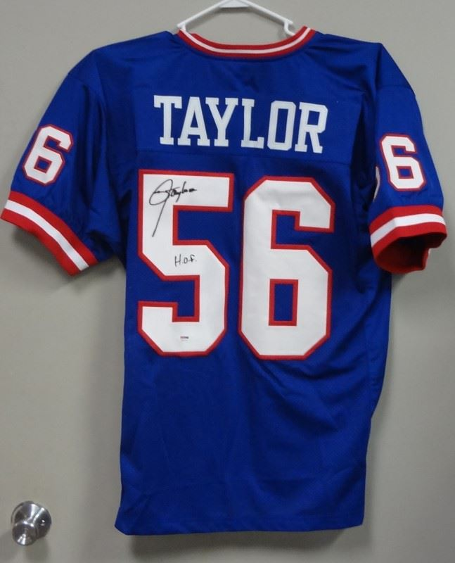 official photos 0b2a0 37070 LAWRENCE TAYLOR HOF SIGNED AUTOGRAPHED NEW YORK GIANTS #56 BLUE JERSEY  PSA/DNA