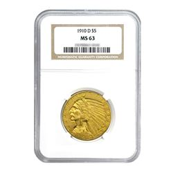 1910-D $5 Indian Gold Half Eagle MS63