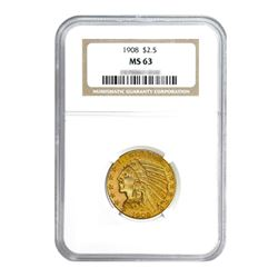 1908 $2.50 Indian Gold Quarter Eagle MS63