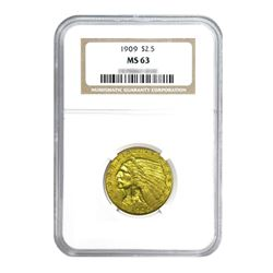 1909 $2.50 Indian Gold Quarter Eagle MS63