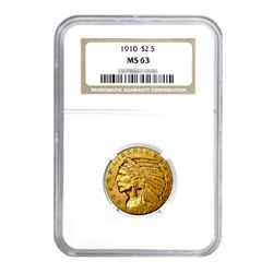 1910 $2.50 Indian Gold Quarter Eagle MS63