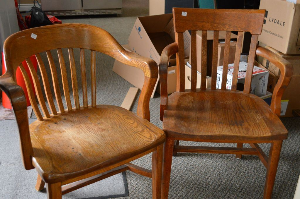 Two Open Arm Vintage Oak Office Chairs