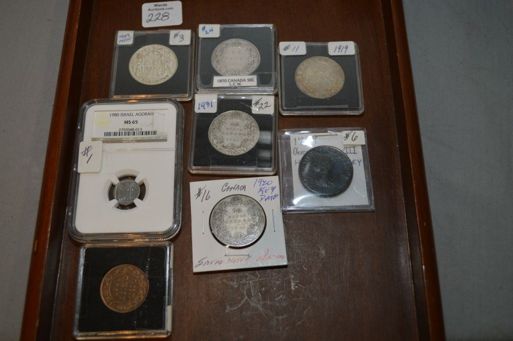 Eight coins including 1980 certified Israel Agorah coin