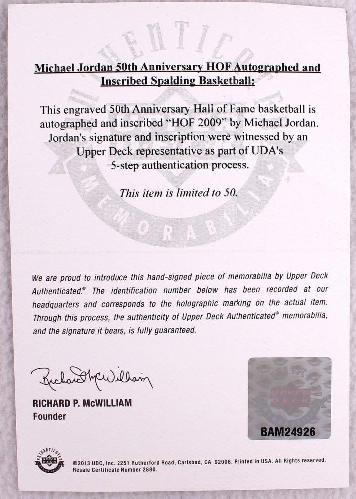 e058e557367 ... Image 3 : Michael Jordan Signed LE 50th Anniversary HOF Official NBA  Game Ball Inscribed
