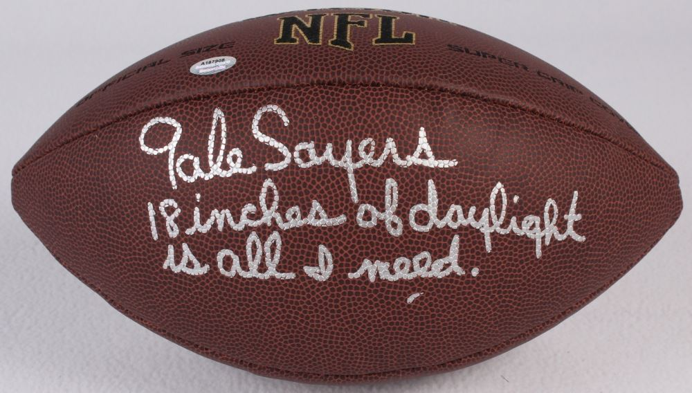 f7598a50921 Image 1   Gale Sayers Signed Wilson NFL Full Size Super Grip Football  Inscribed