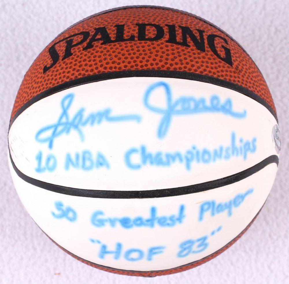 1d2da4f64153a Sam Jones Signed Mini Basketball Inscribed