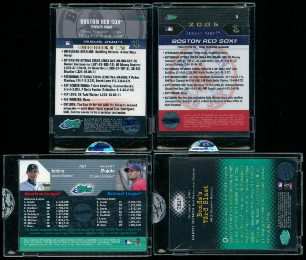 Lot Of 4 Etopps Baseball Cards With 2005 5 Boston Red Sox