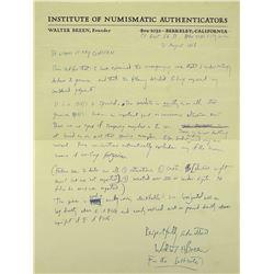 Handwritten Breen Authentication Letter