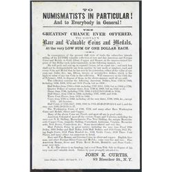 Rare Curtis Numismatic Lottery Scheme