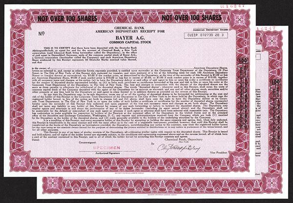 Bayer AG, Specimen ADR Stock Certificates, ca 1970's (5 examples)