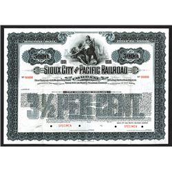 Sioux City and Pacific Railroad Co. 1901 Specimen Bond.