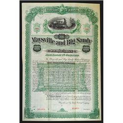 Maysville and Big Sandy Railroad Co., 1888 Specimen Bond.