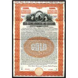 Rock Island, Arkansas and Louisiana Railroad Specimen Bond. 1910.