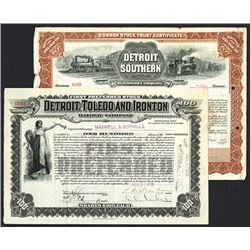 Detroit Southern Railroad Co., 1902 and Detroit, Toledo and Ironton Railway Certificate.