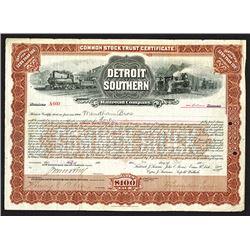 Detroit Southern Railroad Co., 1902 Stock Certificate.
