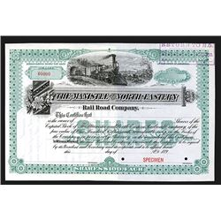 Manistee and North-Eastern Rail Road Co., 189x, Specimen Stock Certificate.