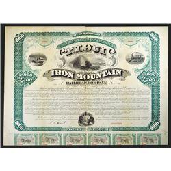 St.Louis and Iron Mountain Railroad Co. 1872 Specimen Bond.