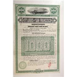 St.Louis and San Francisco Railway Co., 1884 Unique Approval Proof Bond.