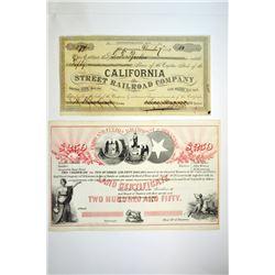 Cairo & Fulton Rail Road Co. 1859; California Street Railroad Co. 1883.